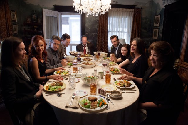 All the family around the dinner table