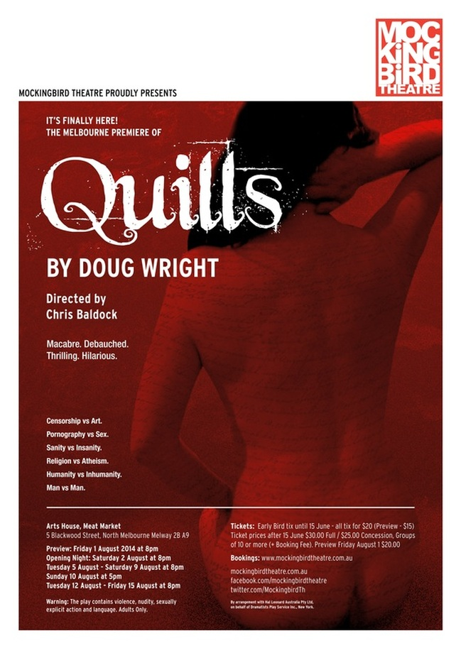 'Quills' poster, by Mockingbird Theatre