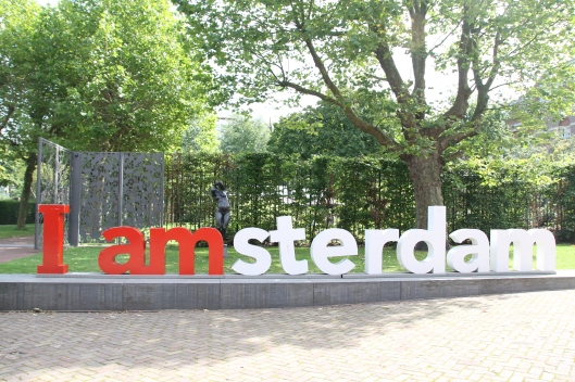 I Amsterdam sign outside the Hermitage Portrait Museum