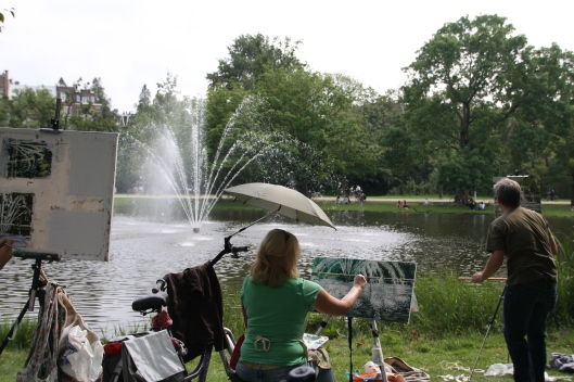 An art group painting the fountain in Vondelpark