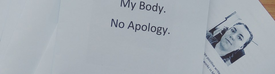 A pile of paper booklets. Text reads 'My body. No apology. a poetry chapbook by Fleur Blüm'