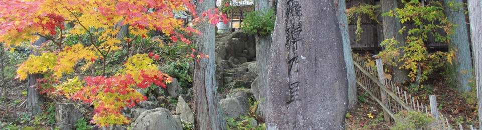 Autumn. Large stone with Japanese writing carved into it on right. Tree with yellow and red foliage on the left. Japan.