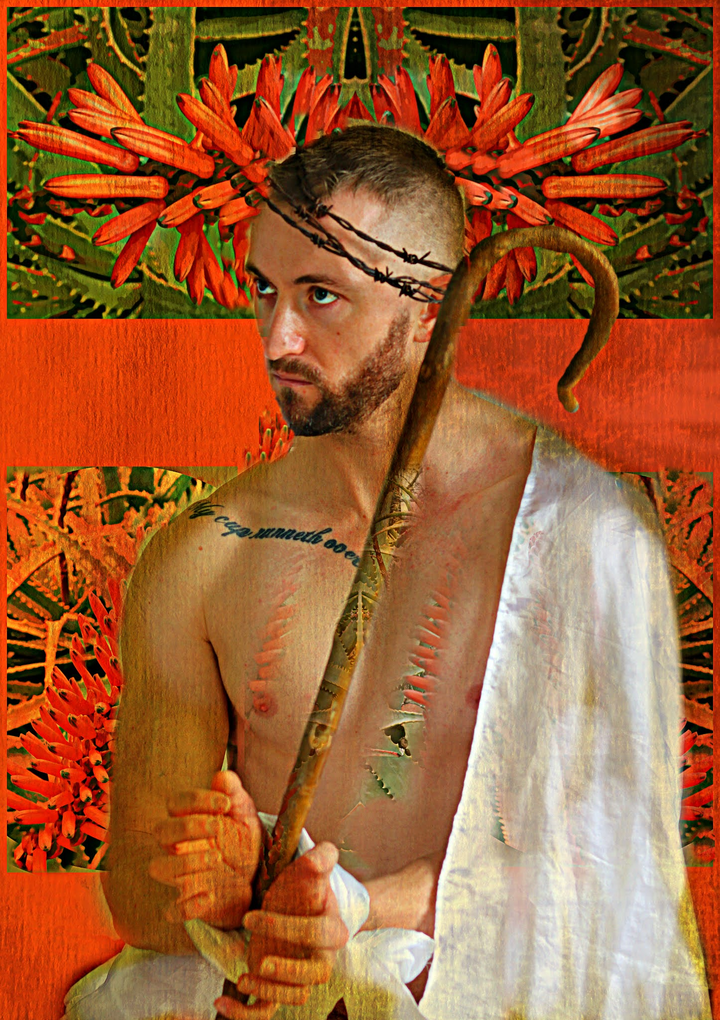 A light skinned man sits, his hands are bound in front of him, his chest is bare, one shoulder covered with white fabric, barbed wire in a crown on his head. The background is red with spear like flower and foliage visible.